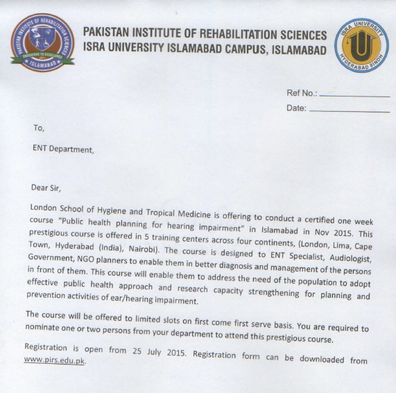 ENT Department Letter